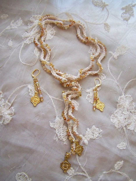 Gold and Ivory Beaded Lariat Necklace & Earring Set Handmade Beaded Crochet Jewelry Made in USA | Handmade Quality Items | Scoop.it