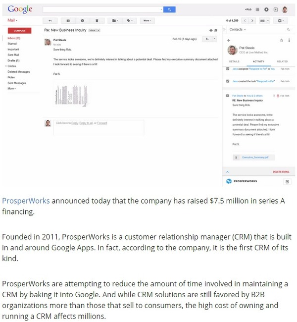 ProsperWorks raise $7.5 million to put CRM in your Google | VentureBeat | The Marketing Technology Alert | Scoop.it