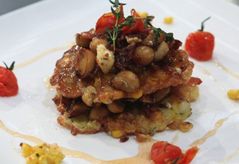 Corn Fritter Recipe with Bacon, Mushrooms and Chilli Tomato Syrup | Shannon Smuts - | BEAUTY ART | Scoop.it