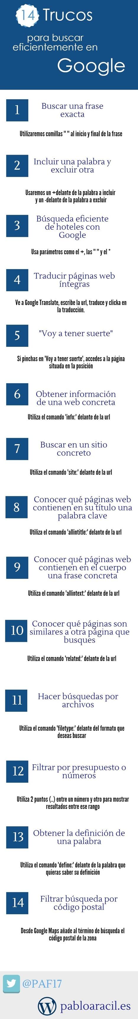 14 trucos pra buscar eficientemente en Google #infografia #infographic | Llengua i noves tecnologies | Scoop.it