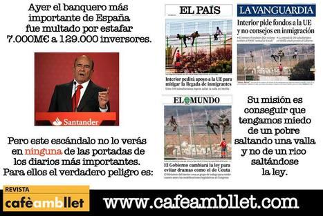 """Las multas (17M€) por """"abusos financieros"""" del Banco Santander de Botín no salen en portada (imagen: @_cafembllet)   Política & Rock'n'Roll   Scoop.it"""