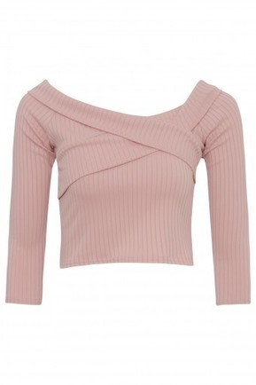 Cross Over Detail Ribbed Bardot Crop Top | Celebrity Style | Scoop.it
