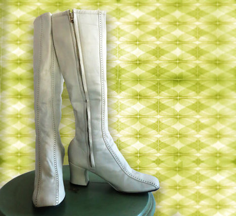 Vintage 1970s White Leather Boots.  Never Used, Deadstock. Amazing Boots | DustyDesert vintage | Scoop.it