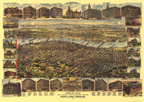 portland-birds-eye-view-map-1890 | PDX water maps and messes | Scoop.it