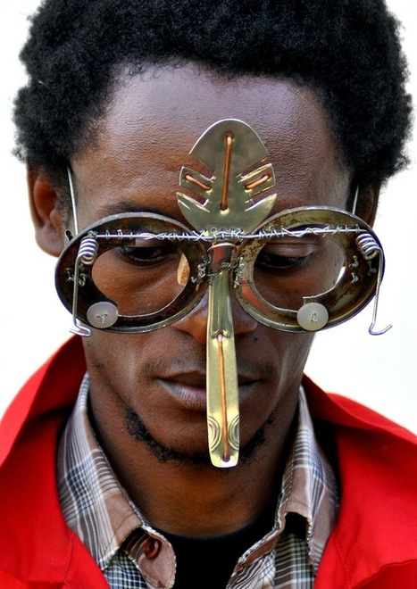 Kenyan Artist Digs Through Electronic Refuse and Found Metal to Create Dazzling Sculptural Eyewear | IELTS, ESP, EAP and CALL | Scoop.it