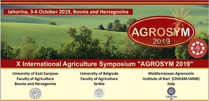 "Extended deadline for Abstract submission 10 June, 2019 | X International Agriculture Symposium  ""AGROSYM 2019"" Jahorina, 3-6 October 2019, Bosnia and Herzegovina"
