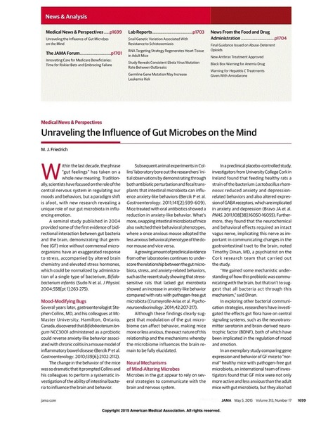 Unraveling the Influence of Gut Microbes on the Mind and Mood | Immunology for University Students | Scoop.it