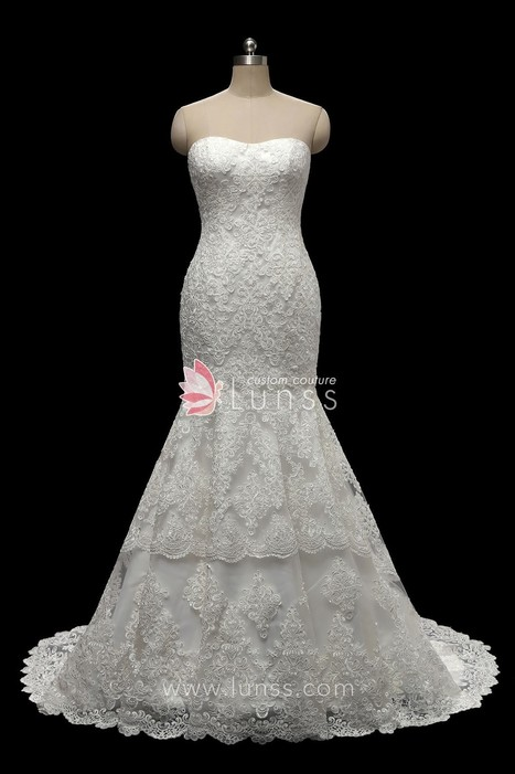 a60e7d8741e Ivory Strapless Semi-Sweetheart Lace Trumpet Wedding Dress with Court Train  - Lunss Couture