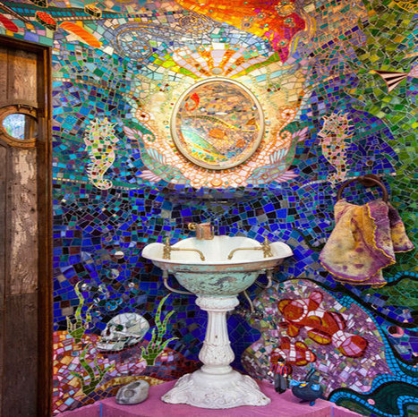 Beautiful Mosaic Walls Featuring Bits And Pieces Of Glass | Designing Interiors | Scoop.it