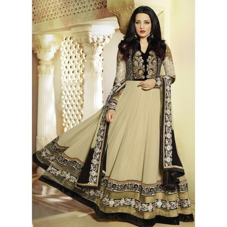 dd166fc2a1 Celina Taupe and Black Anarkali | lashkaraa | Scoop.it