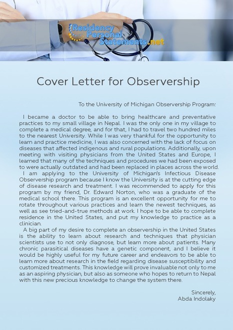 cover letter observership medical