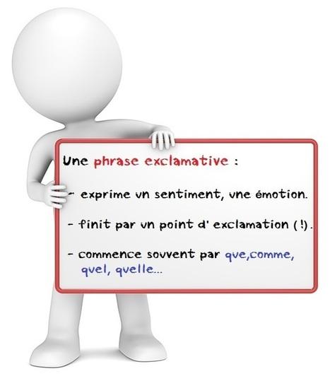 La phrase exclamative. Apprendre le français en ligne, exercices . | TICE et langues | Français pour tout le monde | Scoop.it