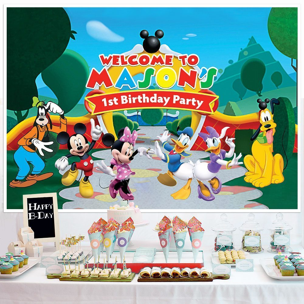 Mickey Mouse Birthday Banner Personalized Party Backdrop Decoration