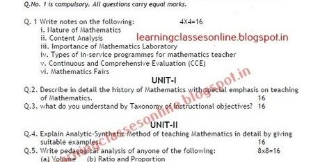 Online Class Room: B Ed Pedagogy of mathematics