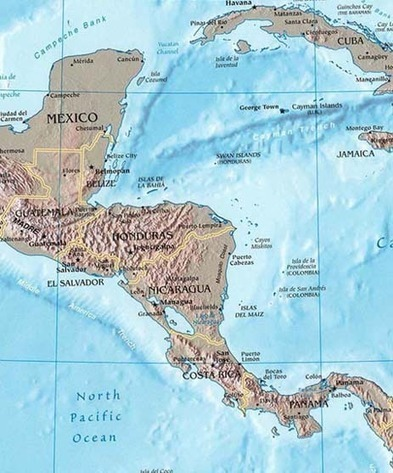 Central america map map of central america co central america map map of central america countries landforms rivers and information pages gumiabroncs Images