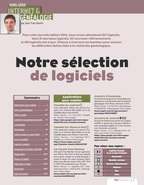 Dossier Logiciels 2014 - La Revue Française de Généalogie (pdf)   Généalogie   Scoop.it