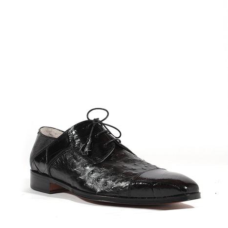 38a9bcd863429 Fennix Mens Shoes Exotic Hornback Crocodile Ostrich Black Oxfords (FX103)