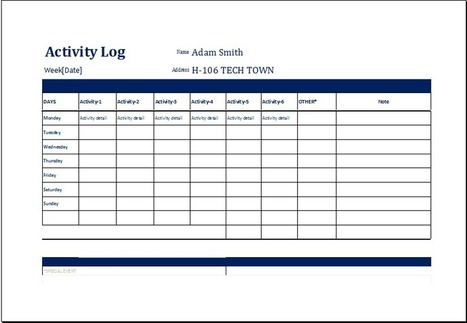 log in Collection of Microsoft Word Excel Templates – Activity Log Template