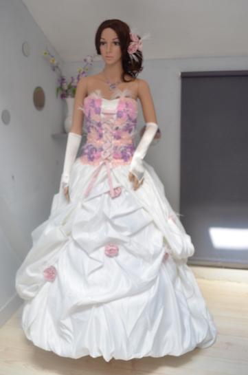 robe de mari e neuve ivoire et rose pale. Black Bedroom Furniture Sets. Home Design Ideas