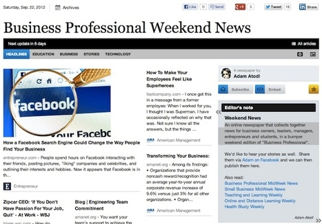 Sept 22 - Business Professional Weekend News is out | Transformations in Business & Tourism | Scoop.it