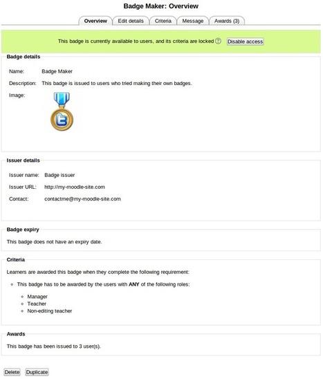 OpenBadges User Documentation - MoodleDocs | Technology Enhanced Learning & ePortfolio | Scoop.it
