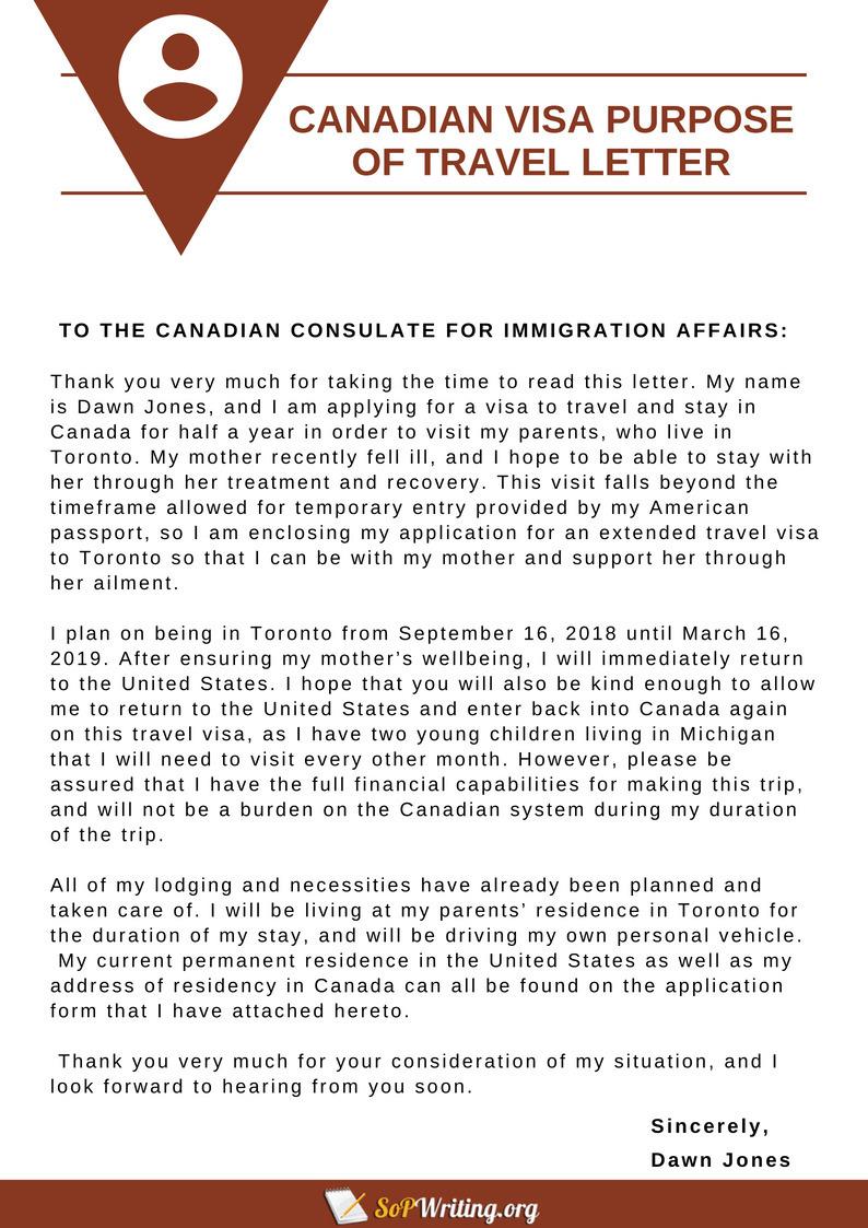 purpose of travel canada visa sample letter
