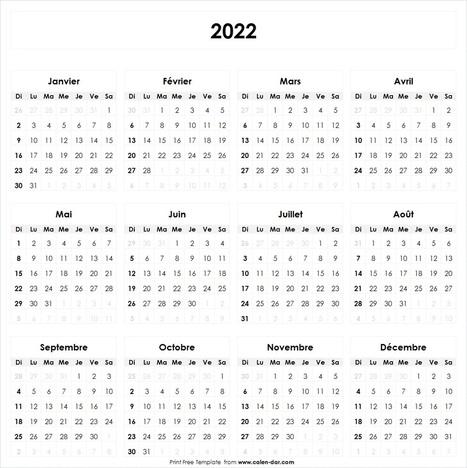 Calendrier 2022 à Imprimer Vacances | Ex