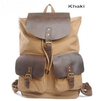 Leather flap canvas haversack with double front pockets from Vintage rugged canvas bags | personalized canvas messenger bags and backpack | Scoop.it
