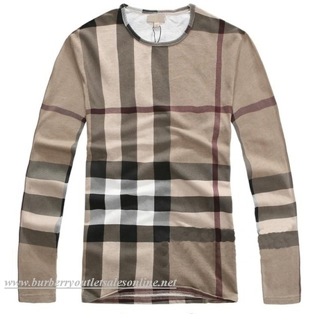 burberry cheap outlet e4zc  Burberry Men Classic Long Sleeve T-Shirt Khaki [B004018]