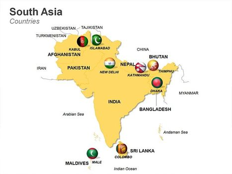 south asia countries map fully editable powerpoint