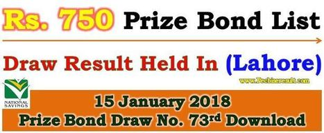 Lahore Prize Bond List 750 January 15, 2018 Ful
