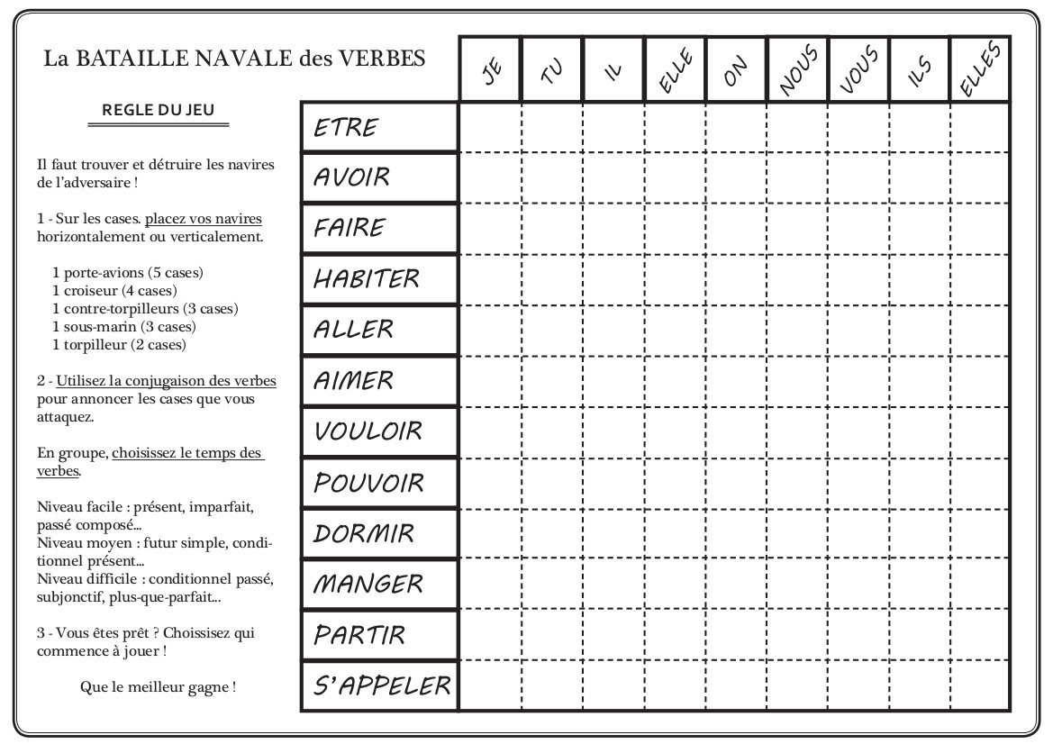 Fiche pour la bataille navale des verbes fle - Grille de bataille navale a imprimer ...