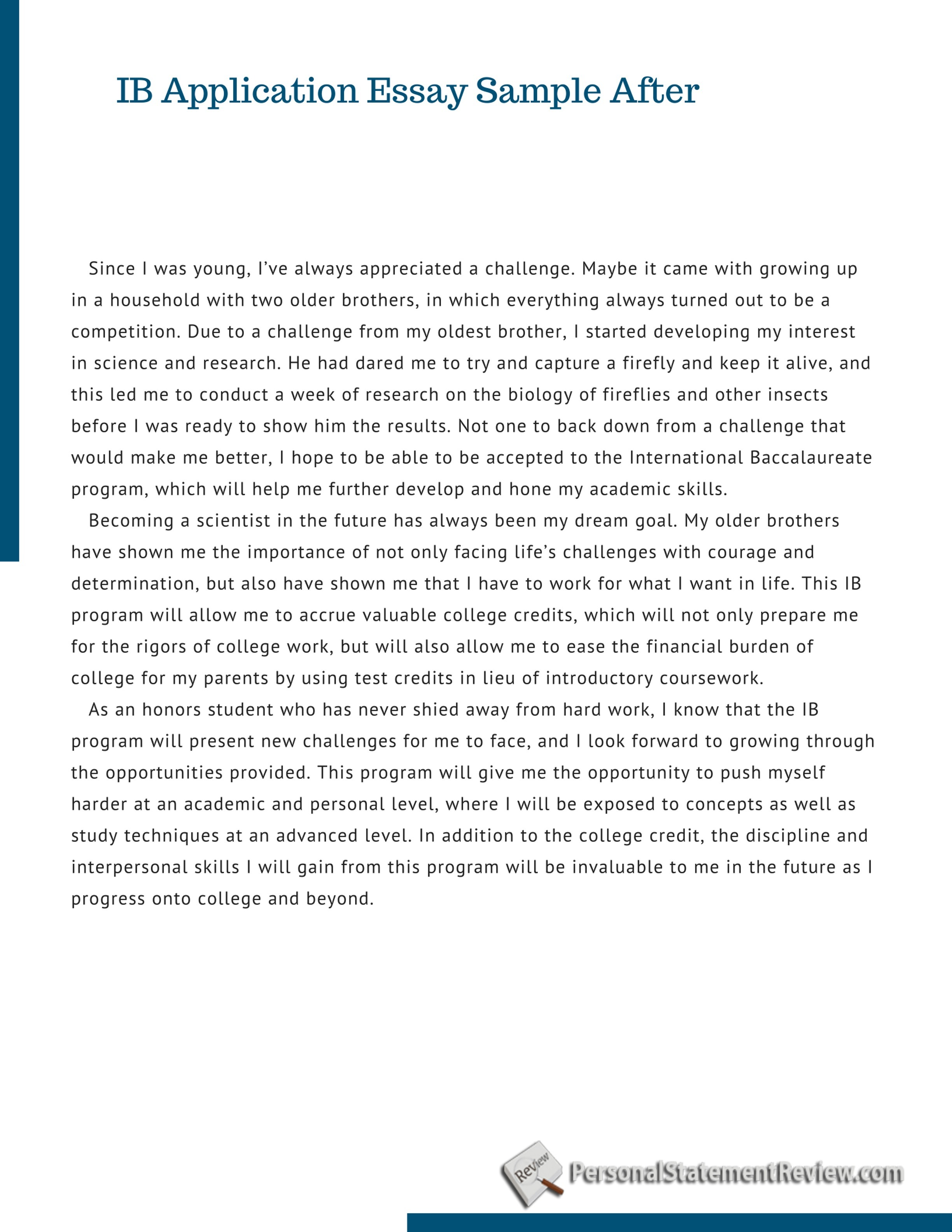 International business admission essay