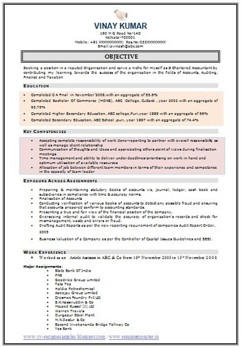 Sample Template of an Excellent Fresher Resume  My First Resume