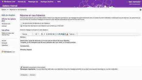 Hotmail : des réponses automatiques pour vos vacances | Time to Learn | Scoop.it