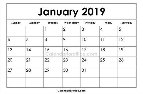 Blank Calendar Jan 2019 In Calendar For Office Scoop It