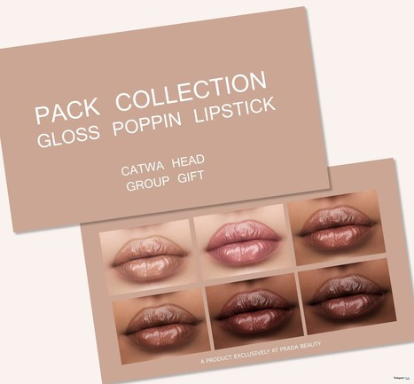 3998df9f4797 Gloss Poppin Lipstick Pack March 2019 Group Gift by Prada Beauty | Teleport  Hub - Second Life Freebies
