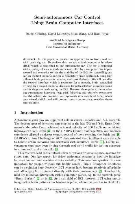 Semi-autonomous Car Control Using Brain Computer Interfaces - Springer   How will robotics change lives in the near future   Scoop.it