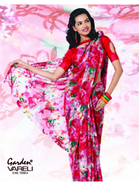 Rosy Glow Red Brasso Saree Online Garden Silk Mills Limited Get Designer Indian