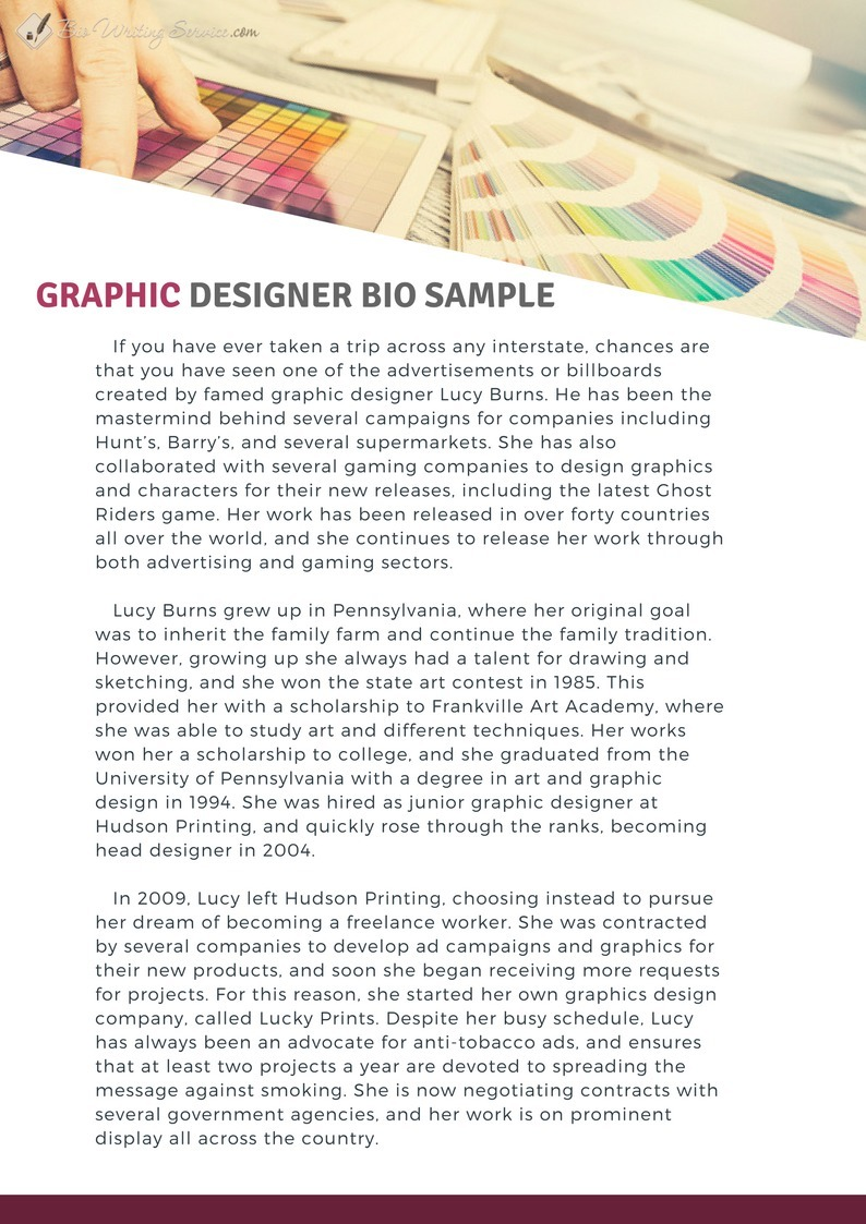 graphic designer bio sample