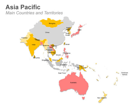 World map asia pacific countries new world map asia pacific asia pacific map with countries and territories fully editable powerpoint slide vector world map gumiabroncs Gallery