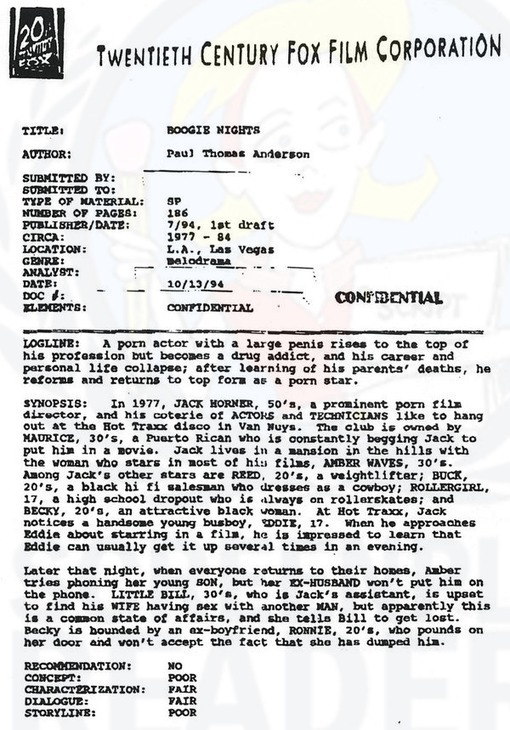 Script coverage for Boogie Nights by P.T. Ander...