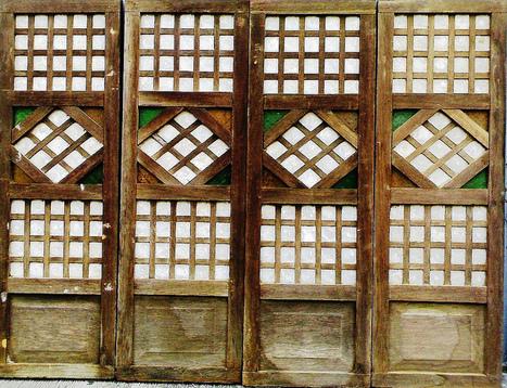Capiz Window Panel Series   01 | Wooden Tropical Antique Doors Window Panes  | Scoop.