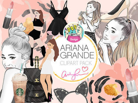 Ariana Grande Cliparts Pack Singer Planner Invitation Girl Blog Fashion Beauty Handmade Watercolor Digital Drawn DIY Stickers PNG 300Dpi