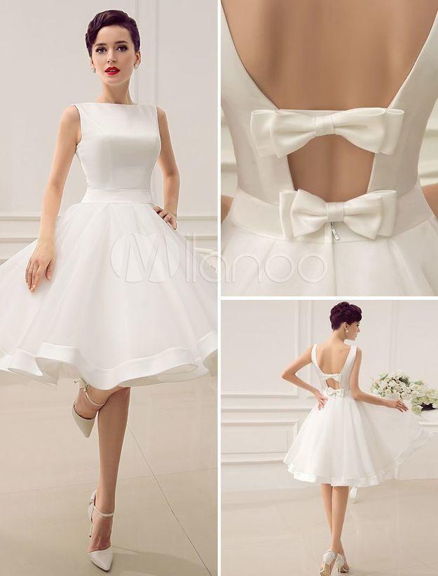 4805e6dbab8 Knee-Length Ivory Cut Out Wedding Dress For Bri...