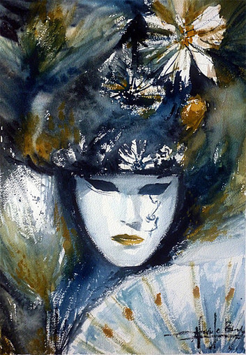 Masque de venise l 39 aquarelle dessin - Masque a peinture ...