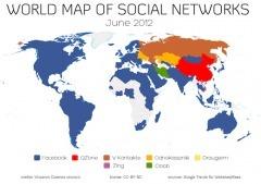Carte du monde des réseaux sociaux – juin 2012 | Réseaux sociaux et FLE | Scoop.it