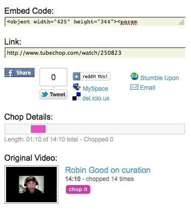 Excerpt Any Part of a YouTube Video and Republish It: TubeChop | Content Curation 411 | Scoop.it