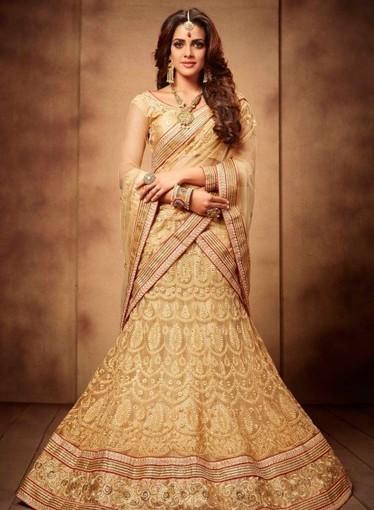 73eb33d73df Beige designer wear Indian Punjabi wedding lengha choli in net