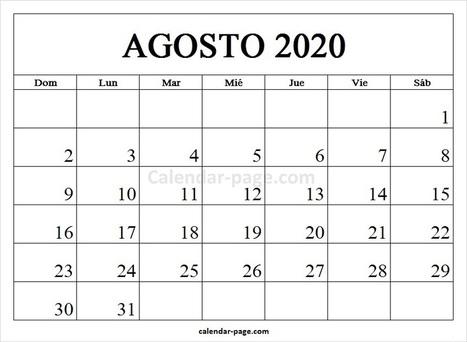 Agosto 2020 Calendario.Calendario Agosto 2020 Ikbenalles